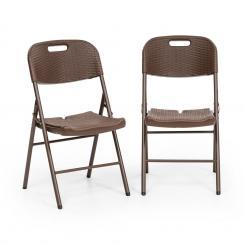 Burgos Seat Klappstuhl 2er-Set HDPE Stahl Rattanlook braun