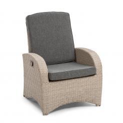 Comfort Siesta Sessel | stufenlos verstellbare Rückenlehne |  Material Bezug: Polyester | Polsterung mit 8 cm Dicke | platzsparend  zusammenlegbar |  Gasdruckfeder Hellgrau