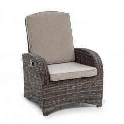 Comfort Siesta Sessel | stufenlos verstellbare Rückenlehne |  Material Bezug: Polyester | Polsterung mit 8 cm Dicke | platzsparend  zusammenlegbar |  Gasdruckfeder Dunkelgrauu