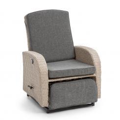 Comfort Siesta Luxury Sessel | stufenlos verstellbare Rückenlehne  | Fußteil | Material Bezug: Polyester | Polsterung mit 8 cm Dicke | integrierte  Schwingfunktion | Gasdruckfeder | Stahlrahmen Hellgrau