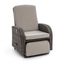Comfort Siesta Luxury Sessel | stufenlos verstellbare Rückenlehne  | Fußteil | Material Bezug: Polyester | Polsterung mit 8 cm Dicke | integrierte  Schwingfunktion | Gasdruckfeder | Stahlrahmen Dunkelgrauu
