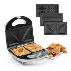 Trilit 3-in-1 Sandwich Maker 750W 3 Grillplatten LED Anti-Haft silber Silber