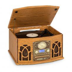 NR-620 DAB Stereoanlage Holz Plattenspieler DAB+ CD-Player braun Braun