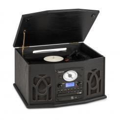 NR-620 DAB Stereoanlage Holz Plattenspieler DAB+ CD-Player schwarz Schwarz