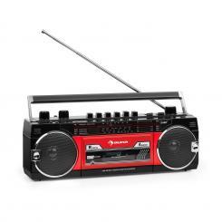 Duke MKII Kassettenrekorder Radio BT USB SD Teleskopantenne schwarz rot Schwarz/rot