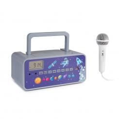 Kidsbox Space CD Boombox CD-Player BT UKW USB LED-Display grau Weltall-Design