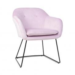 Zoe Polsterstuhl Schaumstoffpolsterung Polyester-Bezug Samt Stahlbeine rosa Rosa