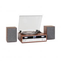 Birmingham HiFi Stereo-System DAB+/FM BT-Funktion Vinyl CD USB AUX-In holz