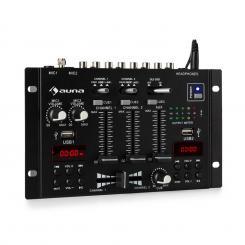 DJ-22BT MKII Mixer 3/2-Kanal-DJ-Mischpult BT 2xUSB Crossfader Talkover Cue Rack-Einbau schwarz Schwarz
