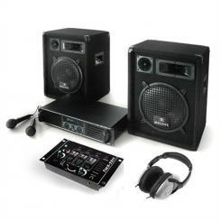 """PA Anlage """"Bass Boomer"""" mit PA-Verstärker 480W max., PA-Lautsprecher 400W max., Mikrofone, DJ-Mixer, Kopfhörer"""