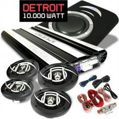 """Car Hifi Set """"Detroit"""" 4.1 Anlage MOSFET Auto Endstufe, 4x Auto-Lautsprecher 600W, 1x 25cm (10"""") Subwoofer 500W, inkl. Kabelset"""