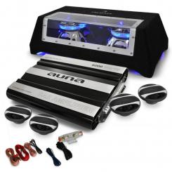 "Car HiFi Set ""London"" 4.1 System 5-Kanal MOSFET Endstufe, Subwoofer 800W, 4x Auto-Lautsprecher 250W/800W max., inkl. Kabelset"