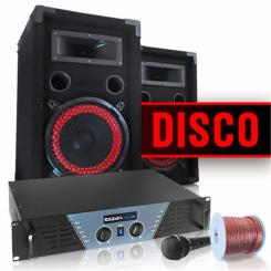 "DJ-PA-Komplettset ""Disco"" PA-Verstärker 480W max., PA-Lautsprecher 2x 200W RMS, Dynamisches Mikrofon, Kabelset"