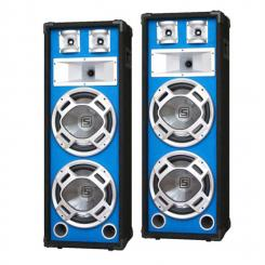"""SKY-178 Paar PA-Lautsprecher PA-Box 2x 20cm (8"""")-Subwoofer blau LED-Lichteffekt 600W"""