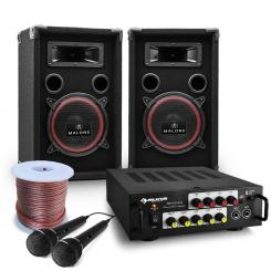 "DJ PA Set ""Bass Noon"" Karaoke Komplettset PA-Boxen-Paar Verstärker Mic"