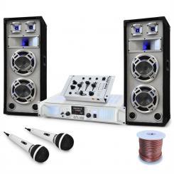 "DJ PA Set ""Polar Bear"" 1x PA-Verstärker 1000W, 2x PA-Lautsprecher 600W, 1x TMX 2211-DJ-Mischpult, 2x dynamisches Mikrofon, Kabelset"