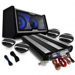 "4.1 Car Hifi Set ""Black Line 600"" 6-Kanal MOSFET Car HiFi Endstufe, Doppel-Subwoofer 30cm-(12"") 2400W max., 4 Auto-Lautsprecher, Kabelset"