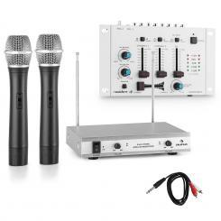 VHF-TMX-2211 Funkmikrofon-Set mit 3 Kanal DJ-Mixer weiß Weiß