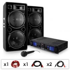 "DJ PA SET ""DJ-27""- Verstärker PA Boxen 2000W USB SD MP3"