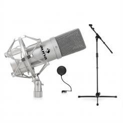 DJ PA Studio- & Bühnen Mikrofonset mit Mikrofon, Stativ und Mikrofonabschirmung