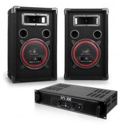 """DJ PA Set """"Soundbash"""" Paar PA Lautsprecher & Verstärker 300W"""