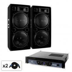 """Malone 2.0 """"Bass"""" DJ PA Set mit PA-Verstärker, PA-Lautsprecher & Kabel 2000W"""