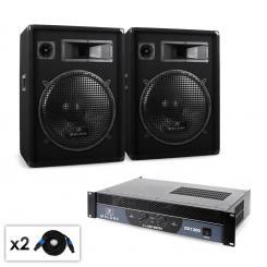 Malone Boom DJ PA Set Verstärker Lautsprecher & Kabel 1200W