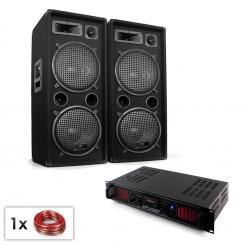 "PA Set ""Malone SPL Bluetooth MP3"" Paar 2x12"" Lautsprecher & Verstärker 1500W"