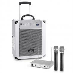Blockstar mobile PA-Anlage & auna 2-Kanal-VHF-Funkmikrofon-Set silber