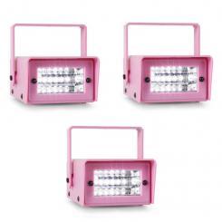 3er Set oneConcept Mini Strobe Mini-LED-Stroboskop pink