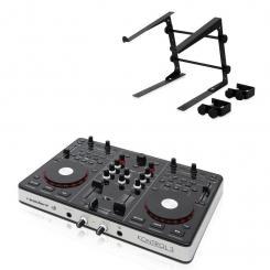 Kontrol 3 USB-MIDI DJ-Controller schwarz mit Laptopständer