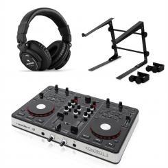 Kontrol 3 USB-MIDI DJ-Controller black mit Kopfhörer & Laptopständer
