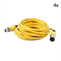 XLR-Kabel 4er-Set 6m gelb männlich zu weiblich