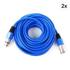 2x XLR-Kabel 10m blau männlich zu weiblich