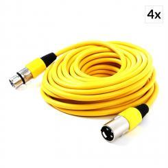 XLR-Kabel Set 4 Stück 10m gelb männlich zu weiblich