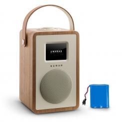 Mini Two Design-Internetradio WiFi DLNA Bluetooth UKW walnuss inkl. Akku Walnuss | Akku