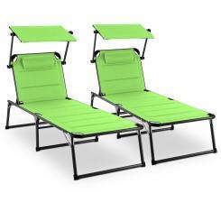 Amalfi Juicy Lime Sonnenliege 2er-Set Polster Stahlrohr grün