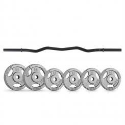Gewichtsscheiben-Curlbar-Set 20 kg 6 Gewichte Curlbar schwarz