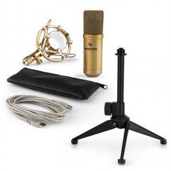 MIC-900G-LED USB Mikrofonset V1 | goldenes Kondensator-Mikrofon Tischstativ