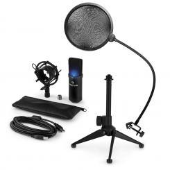 MIC-900B-LED USB Mikrofonset V2 Kondensator-Mikrofon Popschutz Tischstativ