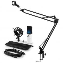 MIC-900WH-LED USB Mikrofonset V3 Kondensatormikrofon Mikrofonarm LED weiß