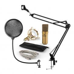 MIC-900G USB Mikrofonset V4 Kondensatormikrofon Pop-Schutz Mikrofonarm gold