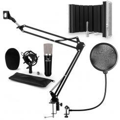 CM003 Mikrofon-Set V5 Kondensatormikrofon XLR Mikrofonarm schwarz