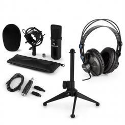 CM001B Mikrofon-Set V1 Kopfhörer Kondensatormikro USB-Adapter schwarz