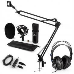 CM001B Mikrofon-Set V3 Kopfhörer Kondensator USB-Adapter Mikroarm schwarz
