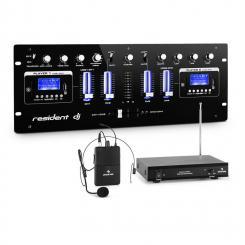 DJ405USB-BK 4-Kanal-DJ-Mischpult inkl.VHF-Funkmikro Set mit Headset