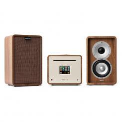 Unison Retrospective 1979 S Edition – All-In-One Receiver | integrierter Verstärker | Zwei-Wege-Lautsprecherpaar | Internetradio / DAB+ / UKW / BT / USB / Spotify | TFT-Farb-Display | Ausgangsleistung: 2x40 W RMS | Multiroom | braun / walnuss Walnuss | Braun