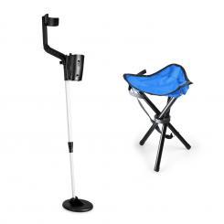Basic Blue Goldsucherset | Metalldetektor + Campinghocker | 16,5 cm Spule  | 1,5 m Tiefe Blau