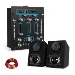 DJ-25 DJ-Mixer + auna ST-2000 Lautsprecher Set schwarz/blau Blau