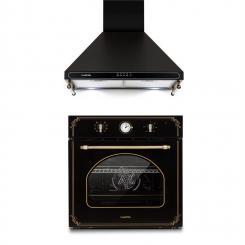 Victoria Set Einbaubackofen Dunstabzugshaube Retro-Design schwarz Schwarz
